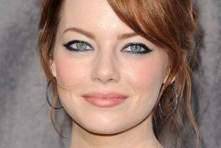 Темный макияж для рыжих, макияж зеленых глаз с использованием синего перламутрового карандаша