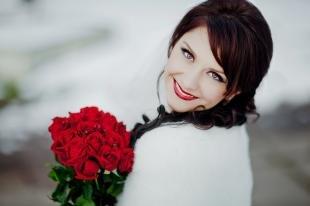 Макияж для брюнеток с красной помадой, зимний свадебный макияж