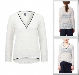 Белые блузки, блуза s.oliver denim, весна-лето 2016