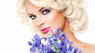 Макияж под фиолетовое платье, макияж для каре-зеленых глаз с темно-сиреневыми тенями