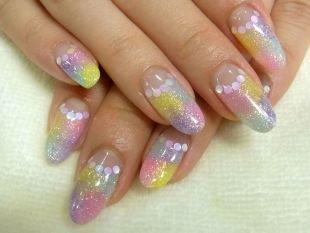 Дизайн нарощенных ногтей, разноцветный лунный маникюр