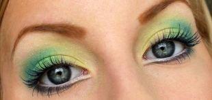 Макияж для голубых глаз с голубыми тенями, яркий макияж для серых глаз