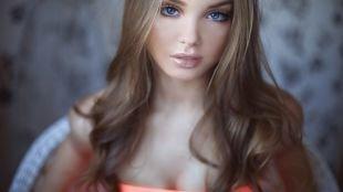 Нежный свадебный макияж, макияж для голубых глаз в коричневых тонах