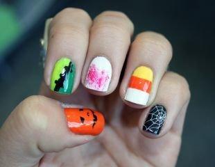 Разный маникюр на ногтях, стильный маникюр к хэллоуину