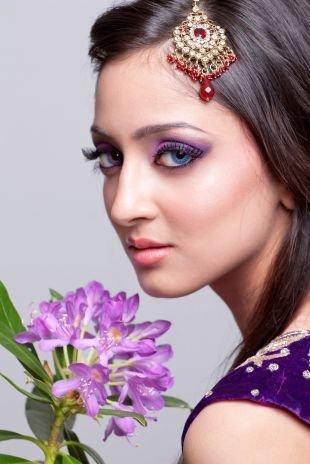 Восточный макияж для голубых глаз, индийский макияж