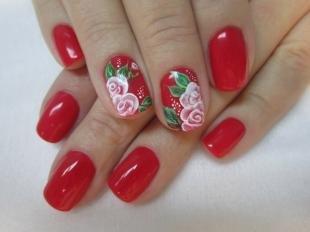 Маникюр с розами, маникюр на 8 марта в красном цвете