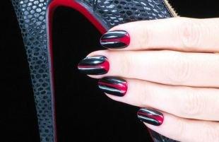Красно-черный маникюр, вечерний черно-красный маникюр