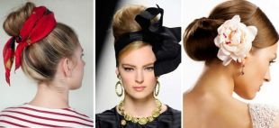 Прически на выпускной на средние волосы, прическа с бубликом - варианты оформления