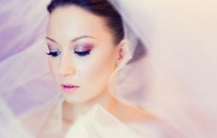 Свадебный макияж с нарощенными ресницами, свадебный макияж для брюнетки
