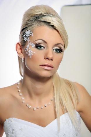 Свадебный макияж с нарощенными ресницами, свадебный макияж для сероглазых блондинок