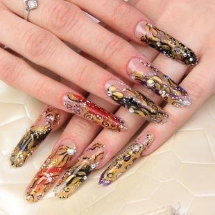 Дизайн ногтей, сложный дизайн гелевых ногтей