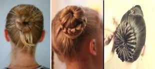 Прически с косой на средние волосы, прическа с бубликом - варианты