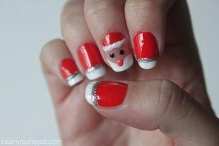 Рисунки блестками на ногтях, френч дед-мороз