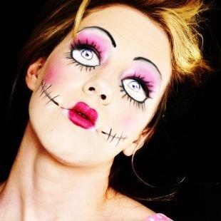 Легкий макияж на хэллоуин, макияж на хэллоуин - жуткая кукла