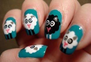 Маникюр на средние ногти, интересный маникюр с овечками