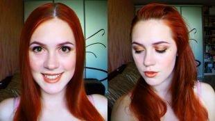 Макияж для красных волос, макияж для рыжих волос в золотисто-бронзовой гамме