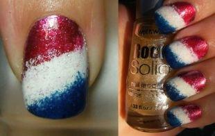 Модные рисунки на ногтях, сине-бело-красный градиентный маникюр
