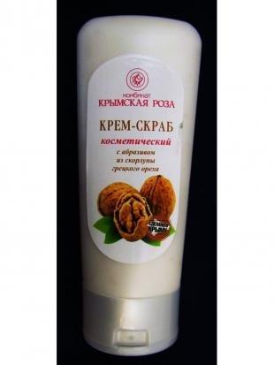 Скраб для жирной кожи, крымская роза крем-скраб для лица косм. с абразивом из скорлупы грецкого ореха 100мл