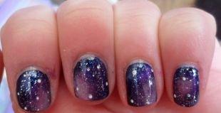 Лёгкий маникюр на коротких ногтях, маникюр ночное небо