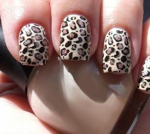 Леопардовые рисунки на ногтях, маникюр с леопардовым принтом
