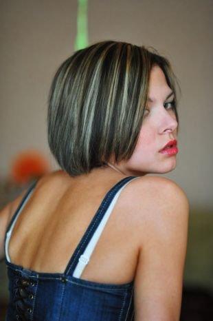 Мелирование на темные волосы на короткие волосы, контрастное мелирование на темные волосы