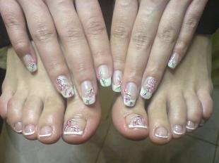 Китайская роспись ногтей, дизайн ногтей с сакурой
