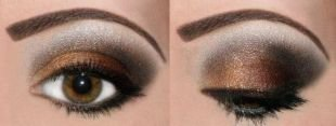 Макияж для карих глаз под зеленое платье, коричнево-черный макияж смоки айс
