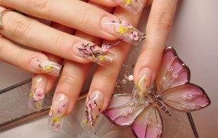 Маникюр с бабочками, дизайн ногтей с акриловой лепкой