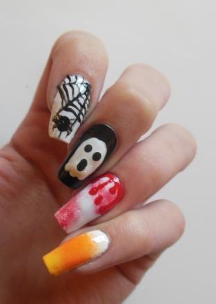 Рисунки паука на ногтях, рисунки на ногтях для хэллоуина