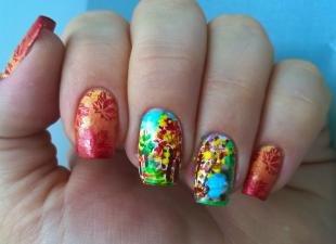 Рисунки с листьями на ногтях, осенние рисунки на ногтях