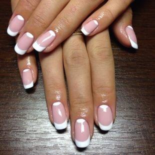 Свадебный маникюр на короткие ногти, шеллак френч