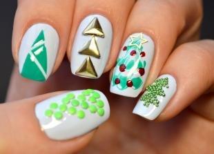 Рисунки блестками на ногтях, эксклюзивный новогодний маникюр