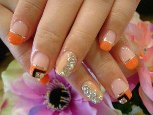 Красивый френч на квадратных ногтях, французский маникюр (френч) с рисунком