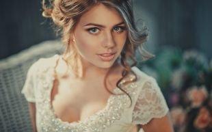 Свадебный макияж для круглого лица, женственный свадебный макияж для голубых глаз