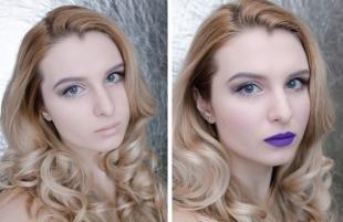 Темный макияж для блондинок, макияж с сиреневой помадой